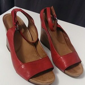 ALDO: Soft Red Leather & Wood Wedge. Comfy-Sexy